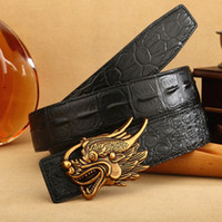 Wholesale wholesale faux crocodile leather - Gold Dragon Head Buckle Waist Belt For Men Crocodile Pattern Straps Double Side Cowhide Belts For Men 39fr B