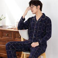 mavi olanlar toptan satış-Koyu Mavi Pijama Erkek Pijama% 100% Pamuk erkek Gecelik Uzun Kollu Uyku Salonu Rahat Erkek Gecelik Yumuşak Pijama Takımı 4XL
