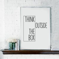 Wholesale Canvas Wall Art Ideas - Motivational Print Creative Decor - Think Outside The Box - Home Office Minimal Wall Art Canvas Painting Ideas For Classroom