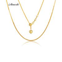collar de cadena de oro puro de 18k. al por mayor-AINUOSHI Puro 18 K Oro Rosa Sólido / Oro Amarillo / Oro Blanco Collar de Mujer Colgantes Corazón Amor Cadena de Boda Joyas de Navidad 18 ''