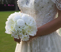 Wholesale cheap satin bags - 2018 Cheap New Arrival High Level Wedding Bridal Bouquet Colorful Mix Artificial Rose Flower Free shiping