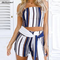 Wholesale overall dress girl - New Striped Summer Boho Casual Two Piece Set Playsuits Women Beach Strapless Crop Top Shorts Bow Lace Up Overalls Girls Outfits