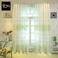 Wholesale exterior window decor resale online - Bedroom Window Sheer Curtains Living Room Voile Countryside Balcony Pattern Flax Sun Shade Embroidery Curtain Yarn Home decor qn bb