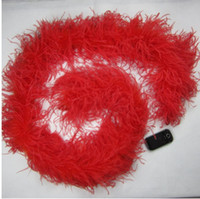 Wholesale feather for birthday party decoration resale online - red Ostrich Feather Boas ply thinckness for wedding crafts sewing event decor