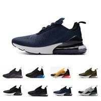 Wholesale leather sole shoes for men - Wholesale Hot high quality Mens Triple Black 270 AH8050 Trainer Sports Running Shoes for men Womens sole Athletic Sneakers Size Eur 36-45
