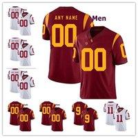 ingrosso personalizza la maglia di calcio-Personalizzato USC Trojans College Football Jersey uomo donna gioventù bianco rosso personalizzato cucita qualsiasi nome qualsiasi numero ricamo maglie