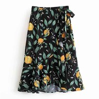 línea de pajarita para mujer al por mayor-FIRSTTO Elegante estampado de hojas de limón dobladillo irregular A-Line falda de oscilación cintura alta atada arco Retro mujeres hasta la rodilla falda asimétrica
