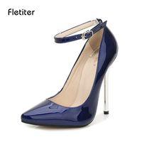 Wholesale Large Sized Ladies Shoes - wholesale Shoes Women 13 cm High Heels Pumps Leather Pointed Toe Women Pumps Ladies Shoes Thin High Heel Shoes Large Size 43 44