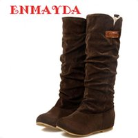 Wholesale Wholesale Sexy Boots - Wholesale- ENMAYDA Free Shipping 2016Newest Winter Woolen Lady Snow Boots Sexy Bleak Orange Brown Women Boots Bigsize 34-43 Flats Shoes