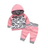 Wholesale Love Cute Baby Boy - Mikrdoo 2018 Kids Baby Clothes Suits Baby Loving Heart Long Sleeve Hoodies Pants Set 2PCS Cotton Boy Girls Tracksuit Wholesale