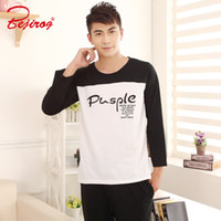 Wholesale cotton knit pajamas for sale - Group buy Bejirog Pajamas Sets for Men Long Sleeved Pijamas Suit Knitted Cotton Sleepwear Clothes Autumn Male Stitch Black Simple Nighties