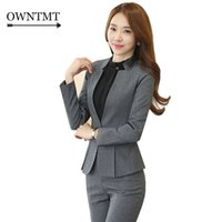 Wholesale women working suits design - High-grade Two Piece Formal Pant Suit Ladies For Wedding Office plus size Uniform Designs Gray Women Business Suits For work