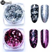 ingrosso chiodi di alluminio-Mtssii 1BOX Alluminio Nail Flakes Paillettes Polvere Magic Mirror Glitters Oro Argento Colori rossi Decorazione unghie pigmento irregolare