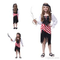 Wholesale girl pirate cosplay online - Children s Day Pirate Costumes Girls Party Cosplay Make Up role playing For Children Kids Lovely Playful Halloween Xmas Christmas Cloth