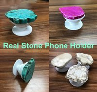 Wholesale grip bag holder - 2018 creative real marble stone cell phone holder universal finger holder grip expandable stand bracket with opp bag package 3m glue