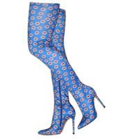 ingrosso calzini blu al ginocchio-2018 nuove donne stampate stivali blu stivaletti skinny tacco sottile stivali alti al ginocchio scarpe da festa da donna calzini calzino elastico zip up