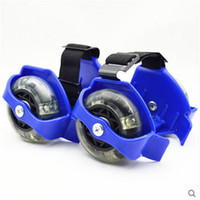 Wholesale kid shoes wheels online - Outdoor Sport Children Scooter Kids Sporting Pulley Lighted Fashion Flashing Roller Wheels Heel Skate Rollers Shoe cs WW