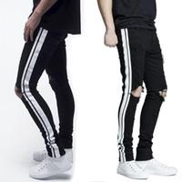ingrosso jeans laterali-New Italy Style # 1508 # Pantaloni da uomo svasati in vita Mix nero Jeans skinny in denim a righe laterali bianchi Pantaloni slim Taglia 28-38