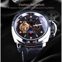 gerçek ay toptan satış-Forsining Hakiki Deri Erkek İş Moda Askeri İzle Elmas Siyah Dial Tourbillion Moon Phase Mekanik Saatı