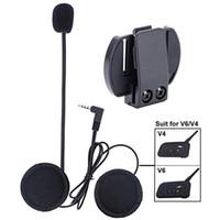 kopfhörer gegensprechanlage großhandel-Mikrofon Kopfhörer Festkabel Headset Clip Zubehör für V6 / V4 Motorradhelm Bluetooth Interphone Motorrad Intercom