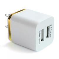 зарядное устройство оптовых-ITTA Dual USB Настенное зарядное устройство 2 порта Металлический штекер зарядного устройства 2.1A + 1A Разъем адаптера питания для Iphone Samsung Ipad Любой мобильный телефон