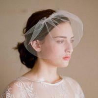 Wholesale blusher veils online - Vintage Wedding Blusher Veils Simple Short Bridal Veil Cheap Bridal Veils