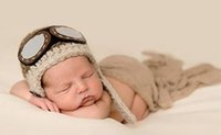 chapéu recém-nascido do piloto do menino venda por atacado-Frete grátis, Crochet Piloto Do Bebê Chapéu, Recém-nascido Chapéu Do Aviador, Bebê Menino Gorro Do Chapéu, Recém-nascido Chapéu Foto Prop 100% algodão