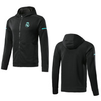 Wholesale hats hoodies online - Top Quality Real Madrid Soccer Jacket with Hat Black Real Madrid Long Sleeve Sweater jacket hoodie sports training suit