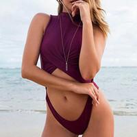 rote monokini großhandel-Sexy High Neck Badeanzug Feste Badebekleidung 2018 Frauen Push Up Badeanzug Ausgeschnitten Monokini Rot Badeanzug Tanga