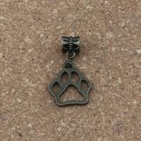 pulsera de bronce antiguo al por mayor-100 unids / lote cuelgan de bronce antiguo impresión de la pata hueca Charm Big Hole Beads Fit europeo encanto pulsera joyería 16.8x30.5mm A-333a
