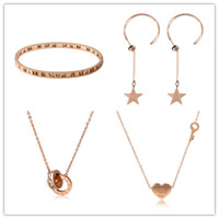 Wholesale korea wholesale gold necklace - Small Bulk Wholesale mix order gold designs for bangles earrings necklace jewerly sets korea fashion peach hearts pendant necklace M020