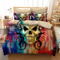 ingrosso skull bedding-Fanaijia multicolore set di biancheria da letto cranio per King Size 3D copripiumino in teschio di zucchero con federa AU Queen Bedline