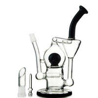 Wholesale Crystal Ball Glass - Tornado Recycler Glass Bong With Inline Perc Black Crystal Ball Perc Water Pipe Recycler Dab Rigs WP330