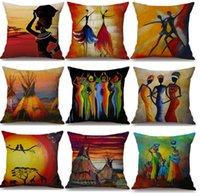 impressionen kunst großhandel-Afrika Malerei Kunst afrikanischen Eindruck exotische Dekoration Stil Kissenbezug 15 Arten Leinen Ölgemälde Kissenbezug Schlafzimmer Sofa Dekor