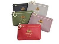 Wholesale key wallets online - Cowhide bee lady zip leather purse fashion key bag mini coin bag