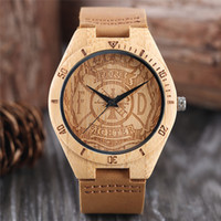 Wholesale Firefighter Gifts - Cool Men Bamboo Watch Simple Firefighter Pattern Dial Soft Leather Strap Analog Fire Fighting Wooden Wristwatch Wood Clock Birthday Gifts
