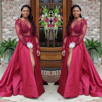 Wholesale size 14 prom dresses sale resale online - 2018 Hot Sale Burgundy Sheer Neck Prom Dresses Lace Appliqued Illusion Long Sleeves Side Split Evening Dresses Wear Cheap
