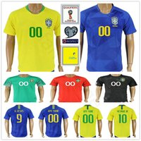 1503b4e61 2018 Brazil World Cup Jerseys 10 NEYMARJR PELE 9 G.JESUS P.COUTINHO MARCELO  RONALDINHO COUTONHO Custom Home Away Soccer Football Shirt