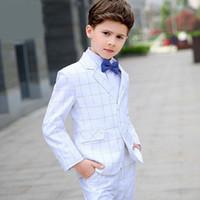 los niños se visten para las bodas al por mayor-British White Fashion Baby Boys Kids Blazers Boy Suit For Weddings Vestido Formal Wedding Boy Suits Enfant Garcon Mariage