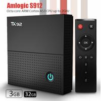 4k uhd tv box venda por atacado-Caixa de tv Android Amlogic S912 TX92 caixa de tv Android 7.1 Octa núcleo 3 GB DDR4 32 GB eMMC 2.5G + 5.8G Poderoso Dual band WiFi + BT4.1 UHD H.265 4 K
