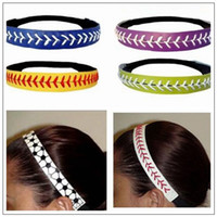 Wholesale hair gums for sale - 20 Colors Women Softball Headbands Seamed Leather Baseball Fast Pitch Hair Bands Bandage On Head Gum Hair Accessory CCA9081