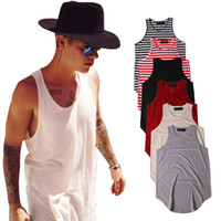 Wholesale Vest Tee Shirt - PLAIN T-Shirt Men Justin Bieber Sleeveless Summer Tees Curved Hem Skateboards Vest Tee Classic Striped Casual Singlet Shirts BSFG1202