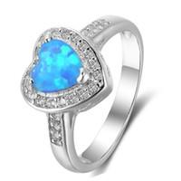 anéis de noivado do oceano venda por atacado-925 Sterling Silver Filled New Style Verde Branco Oceano Azul Fire Opal Banda Coração Doce Luz Azul Anéis de Noivado Transporte da gota