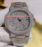 Wholesale factory stone - Best Edition DM Factory 40.5mm Nautilus 5711 1A Platinum Full Diamonds Bracelet Swiss CAL.9015 324S Movement Automatic Mens Watch Watches