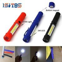 led mıknatıs ışıkları toptan satış-LED El Feneri COB Mini Kalem İşlevli LED Torch Işık cob Kolu çalışma feneri Çalışma El Feneri Alt Mıknatıs Ile