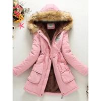 красные меховые девушки оптовых-Женщины длинное пальто зима теплая меховой воротник с капюшоном куртка хлопок смеси тонкий средней длины куртка верхняя одежда для девочки 2018 Красный школа гот