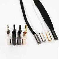enfeites de metal preto venda por atacado-Atacado prático metal aglets diy acessórios de cabeça de substituição para shoestrings ornamento de prata de ouro preto para corda