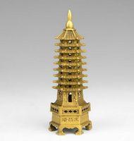 Wholesale pagoda lights online - chinese tibet buddhism temple brass Wenchang Tower chedi stupa Pagoda statue home decoration metal handicraft