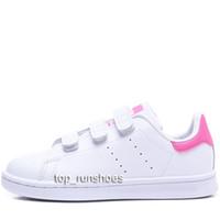 erkek kızlar gündelik beyaz ayakkabılar toptan satış-Çocuk çocuk bebek kız Erkek Kız Için Ayakkabı Kawakubo Kanca Döngü pembe kırmızı çok beyaz samba stan smith çocuk rahat ayakkabılar sieze22-35