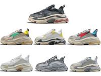 Wholesale women s leather - Hot Sale!! 2018 INS New Paris 17FW Triple-S Running Shoes Luxury Dad Shoes Unisex Men Women Running Sneakers Trainer Sneakers